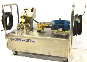 IJ White Ultra Series Powerwash 5000 portable unit featuring CAT pump, liquid filled pressure gauge, water reservoir, two chemical tanks, quick disconnect connections, high-pressure hoses, spray wands and control panel.