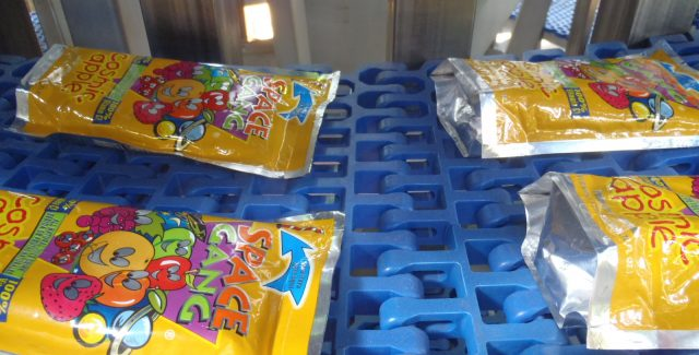 Pouch processing of juice pouches