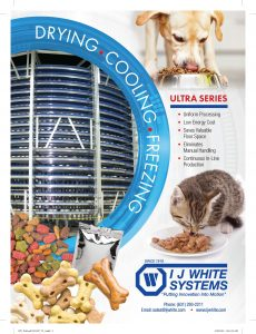 Ultra Series Pet Food Processing System showing pet food treats with a tabby cat and a dog enjoying their meals.