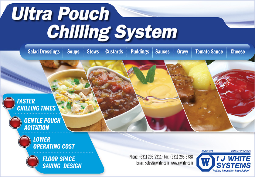 Soup, Stew, Pudding, Custard, Gravy and Sauce processed on IJ White Pouch Systems