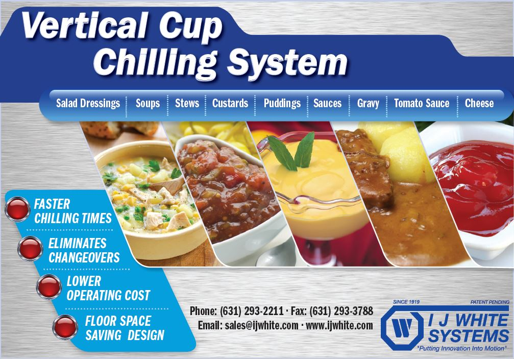 Soup, Stew, Custard, Gravy, Sauce processed on IJ White Vertical Cup Chilling System