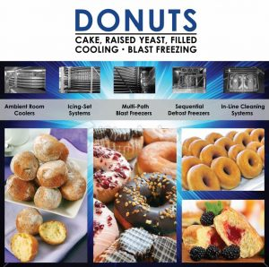 Donut Holes, Iced, Plain and Fruit Filled Donuts, Ambient Cooler, Icing Set, Blast Freezers, Cleaning System