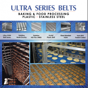 Pies, Cookies and Iced Sweet Goods on IJ White Ultra Series Belts, including Ultra Wide, Stainless HD Flex DRBS, Acetal Plastic, Flame Retardant Nylon and Auto Belt Tension Control