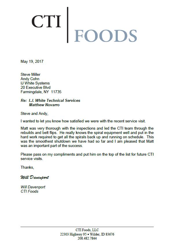 Letter from CTI Foods complimenting I.J. White Technical Service on inspection of Spiral Freezer
