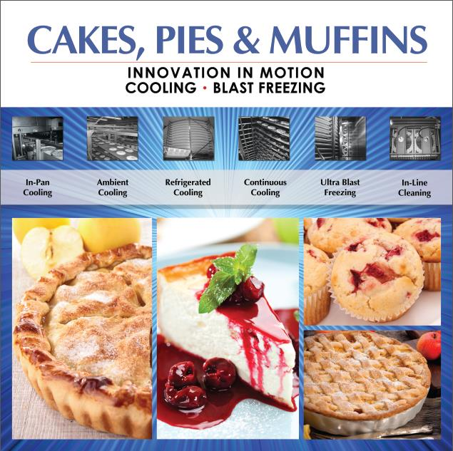 In-Pan, Ambient, Refrigerated Spiral Cooling, Spiral Blast Freezing and Cleaning Systems for Cakes, Pies and Muffins