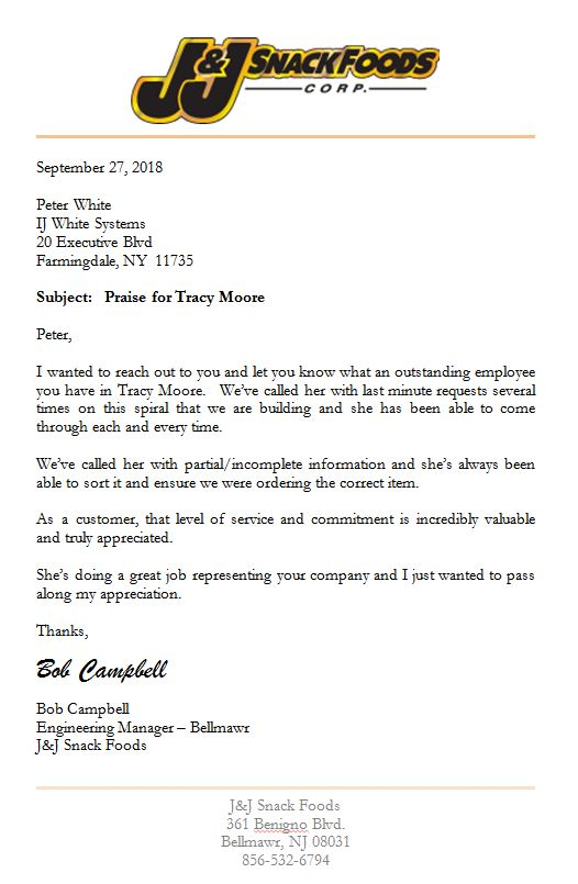 Letter from J&J Snack of Bellmawr New Jersey thanking Tracy Moore of IJ White for outstanding service on Spiral Cooler and Spiral Freezer