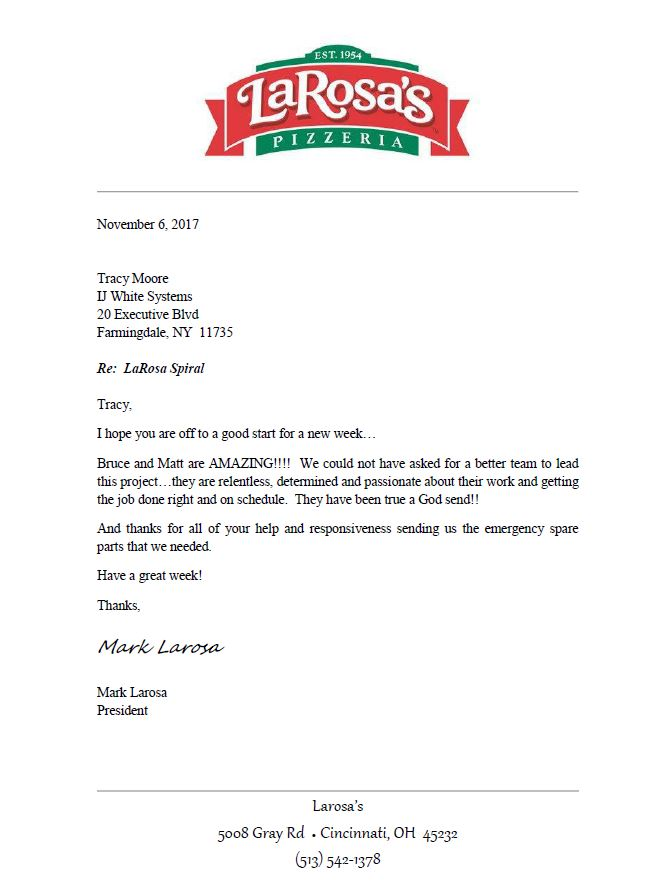 LaRosa's Pizzeria letter thanking I.J. White Technical Service for support on Spiral Systems at Ohio food factory.