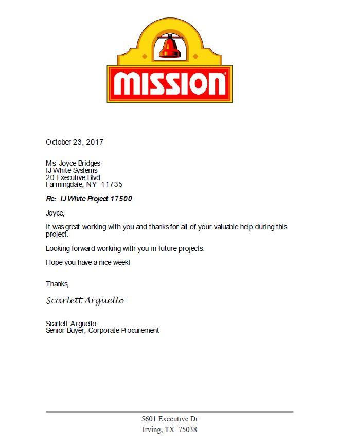 Letter to I.J.White from Mission Foods thanking IJ White for support on Ambient Spiral Cooler project in Grand Prairie Texas