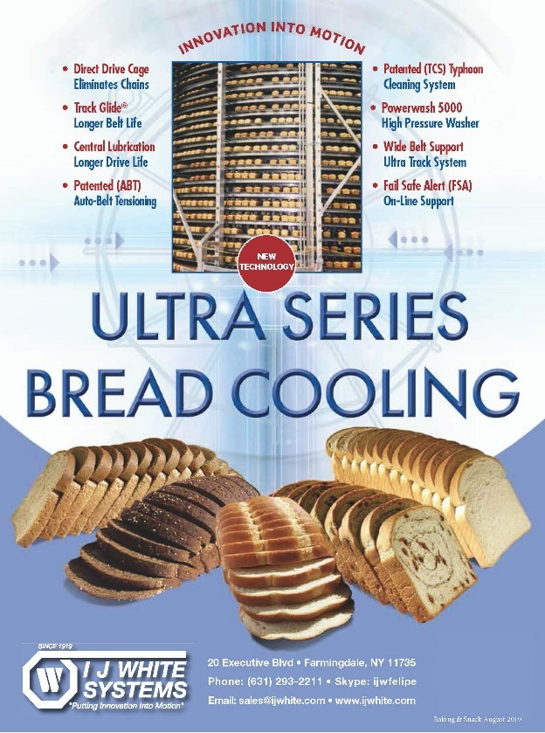 IJ White Bread Cooling Ad shows bread loaves on a Spiral Cooler with images of sliced bread