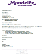 Mondelez International letter to IJ White that Ultra Series Cooler is running well.