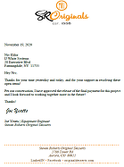Steven Roberts Original Desserts thank you letter regarding Ultra Series Spiral Coolers